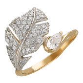Кольцо Перо с фианитами, красное золото