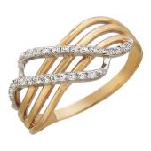 Кольцо три полоски из золота пересекают две полоски из фианитов, красное золото