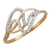 Кольцо Волна с фианитами, красное золото