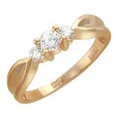 Кольцо с тремя фианитами, красное золото