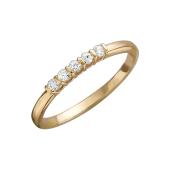 Кольцо с пятью фианитами, красное золото