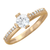 Кольцо, красное золото, большой фианит в центре, маленькие по периметру.