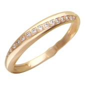Кольцо, дорожка с фианитами по диагонали, красное золото, 585 проба