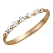 Кольцо с фианитами, красное золото, 585 проба