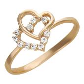 Помолвочное кольцо с фианитом Два Сердца Вместе, красное золото, 585 проба