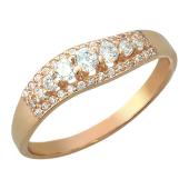 Кольцо волнистая дорожка из фианитов, красное золото