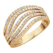 Золотое кольцо, пять изогнутых дорожек из фианитов