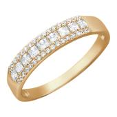 Кольцо Дорожка фианитов, квадратные фианиты, красное золото