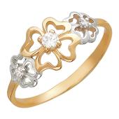 Кольцо Клевер, фианиты, родирование, красное золото