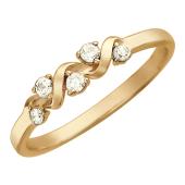 Кольцо Золотая волна украшенная пятью фианитами, красное золото