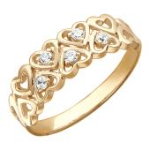 Кольцо, красное золото, широкая шинка, сердечки, фианиты в сердечках