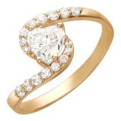 Кольцо Сердце в спирали, фианиты, красное золото