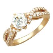 Кольцо, красное золото, крупный круглый фианит, две спирали с фианитами
