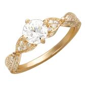 Кольцо, красное золото, крупный круглый фианит и четыре спирали с фианитами, 585 проба