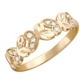 Кольцо, красное золото, широкая шинка, хоровод бабочек