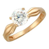 Кольцо помолвочное с большим фианитом бриллиантовой огранки и ромбом, красное золото