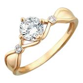 Кольцо Витраж с большим фианитом бриллиантовой огранки, красное золото