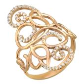 Кольцо широкое с фианитами, витиеватые узоры, красное золото