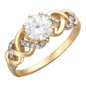 Кольцо Косичка с крупным фианитом в центре, мелкие по бокам, красное золото