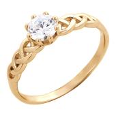 Кольцо на помолвку с большим фианитом бриллиантовой огранки и косичкой, красное золото