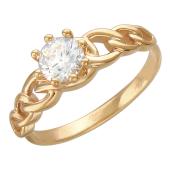Кольцо помолвочное с большим фианитом бриллиантовой огранки и цепью, красное золото