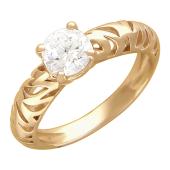 Кольцо, один крупный фианит, тигровые вырезы по шинке, красное золото, 585 проба