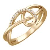 Кольцо Золотые Петли с фианитами, красное золото 585 пробы