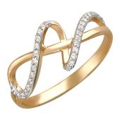 Кольцо Лента (восьмерка) с фианитами, красное золото