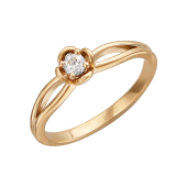 Кольцо с фианитом, красное золото