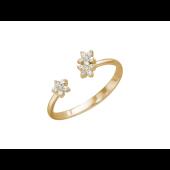 Кольцо на ногу Цветочки с фианитами, красное золото
