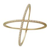 Кольцо Вселенная, фианиты, красное золото