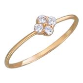Кольцо Нежность с четырьмя фианитами, красное золото