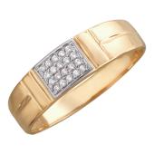 Кольцо широкое, прямоугольник с фианитами, красное золото