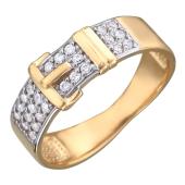 Кольцо Ремешок с фианитами и пряжкой, красное золото