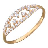 Кольцо Нежное с фианитами, красное золото