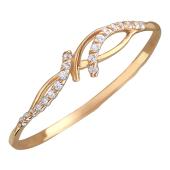 Кольцо тонкое с фианитами, красное золото