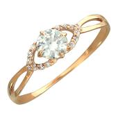 Кольцо Нежность с фианитами, красное золото