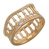 Кольцо Европа с колоннами и фианитом, красное золото