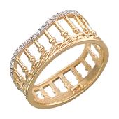 Кольцо Европа, колонны с фианитами, красное золото