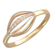Кольцо с дорожкой фианитов, красное золото