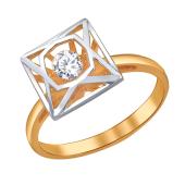Кольцо Impulse Квадрат с танцующим фианитом из красного золота