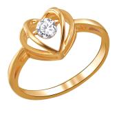 Кольцо Сердце Impulse с танцующим фианитом из красного золота 585 пробы