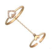Кольцо двойное Сердце с фианитами, красное золото