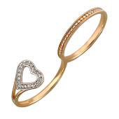 Кольцо Сердце на два пальца, красное золото