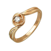 Кольцо Солитер с одним фианитом, красное золото