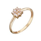 Кольцо Малинки с фианитами, красное золото