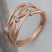 Кольцо с фианитами и зажимами из красного золота