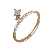 Кольцо тонкое с подвеской квадратный фианит, красное золото