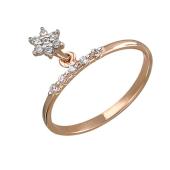 Кольцо тонкое с подвеской звездой с фианитами, красное золото