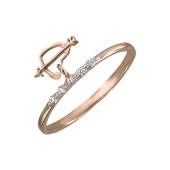 Кольцо Сердце со стрелой и фианитами, красное золото